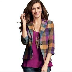 CAbi Blazer Jacket Wool Blend 14 Plaid Purple 927
